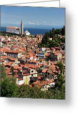 Aerial View Of Piran Slovenia With St George's Cathedral On The  Greeting Card