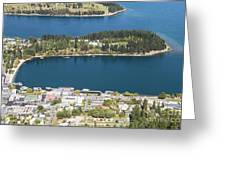 Aerial View Of Queenstown In New Zealand Greeting Card
