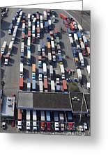 Aerial View Of Semi Trucks At Port Greeting Card by Don Mason
