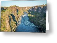 Aerial View Of Sunlit Rapids In Canyon Greeting Card