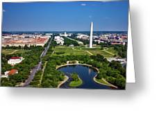 Aerial View Of The National Mall And Washington Monument Greeting Card