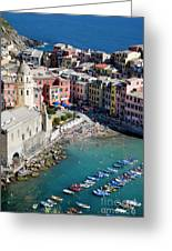 Aerial View Of Vernazza, Cinque Terre, Liguria, Italy Greeting Card