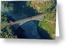 Aerial View Of Victoria Falls Suspension Bridge Greeting Card