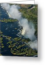 Aerial View Of Victoria Falls With Bridge Greeting Card