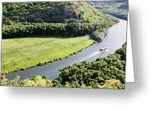 aerial view of Wailua River Greeting Card