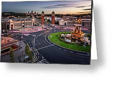 Aerial View On Placa Espanya And Montjuic Hill With National Art Greeting Card