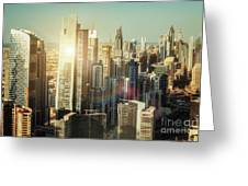 Aerial View Over Dubai's Towers At Sunset.  Greeting Card