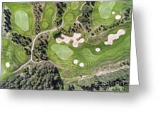 Aerial View Over Golf Field In Poland. Summer Time. Greeting Card