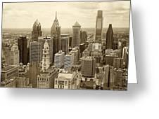 Aerial View Philadelphia Skyline Wth City Hall Greeting Card