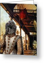 Afghan Hound-capriccio Of Colonade And The Courtyard Of A Palace Canvas Fine Art Print Greeting Card