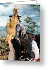 Afghan Hound-falconer And Windmill Canvas Fine Art Print Greeting Card