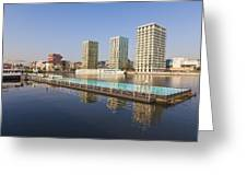 Afloat Swimming Pool Greeting Card