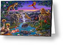 African Animals At The Water Hole Greeting Card by Anne Wertheim