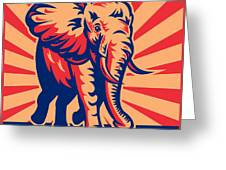 African Bull Elephant Charging Retro Greeting Card
