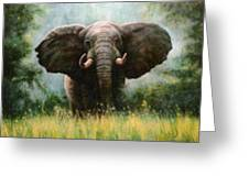African Elephant Greeting Card by Riek  Jonker