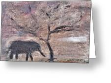 African Landscape Baby Elephant And Banya Tree At Watering Hole With Mountain And Sunset Grasses Shr Greeting Card