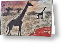 African Landscape Giraffe And Banya Tree At Watering Hole With Mountain And Sunset Grasses Shrubs Sa Greeting Card