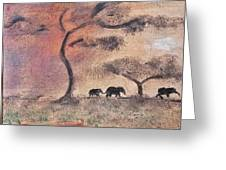 African Landscape Three Elephants And Banya Tree At Watering Hole With Mountain And Sunset Grasses S Greeting Card