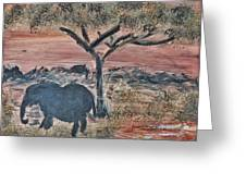 African Landscape With Elephant And Banya Tree At Watering Hole With Mountain And Sunset Grasses Shr Greeting Card