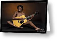 African Nude And Guitar 1184.02 Greeting Card