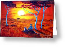 African Sunset Meditation Greeting Card