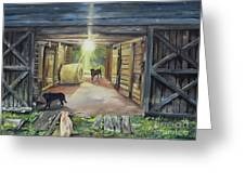 After Hours In Pa's Barn - Barn Lights - Labs Greeting Card