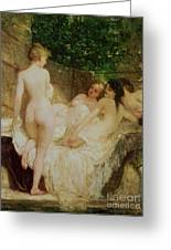 After The Bath Greeting Card by Karoly Lotz