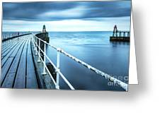 After The Shower Over Whitby Pier Greeting Card