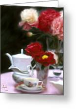 Afternnon Tea With Peonies Greeting Card