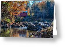 Afternoon Autumn Sun On Vermont Covered Bridge Greeting Card
