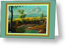 Afternoon By The River With Peaceful Landscape L A S With Decorative Ornate Printed Frame. Greeting Card