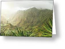 Agave Plants And Rocky Mountains. Santo Antao. Greeting Card