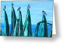 Agave With Sparrows Greeting Card