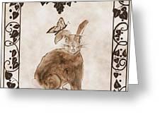 Aged Bunny Greeting Card by Eva Thomas