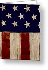 Aged Rustic American Flag Greeting Card