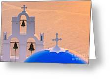 Aghioi Theodoroi Church At Firostefani, Santorini Greeting Card