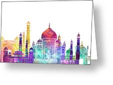 Agra Landmarks Watercolor Poster Greeting Card