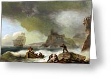 Ailing Ships On Rocks Greeting Card