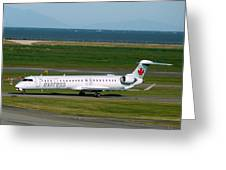 Air Canada Express Crj Taxis Into The Terminal Greeting Card