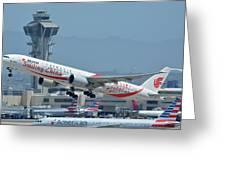 Air China Boeing 777-39ler B-2035 Smiling China Los Angeles International Airport May 3 2016 Greeting Card