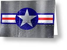 Air Force Logo On Riveted Steel Plane Fuselage Greeting Card