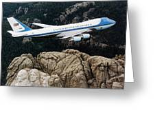 Air Force One Flying Over Mount Rushmore Greeting Card