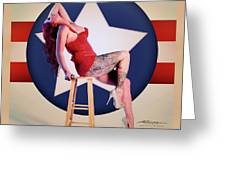 Air Force Pinup With Calypso Jean Greeting Card