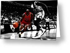 Air Jordan On Shaq Greeting Card