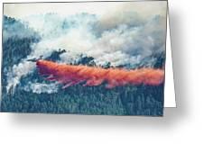 Air Tanker On Crow Peak Fire Greeting Card