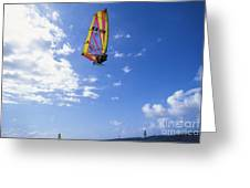 Airborne Over A Calm Ocea Greeting Card