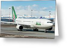 Airbus A330 Alitalia With New Livery  Greeting Card