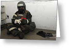 Airman Dons His Chemical Warfare Greeting Card