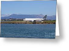 airplane on airport Corfu island Greece Greeting Card