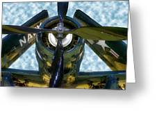 Airplane Propeller And Engine Navy Greeting Card